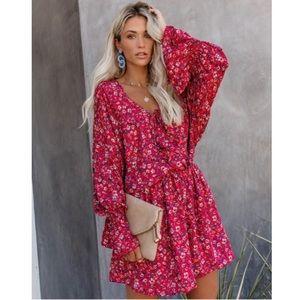 VICI Floral Ruffle Drape Dress